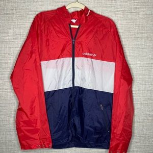 Vtg Adidas XL Trefoil Striped Windbreaker Jacket